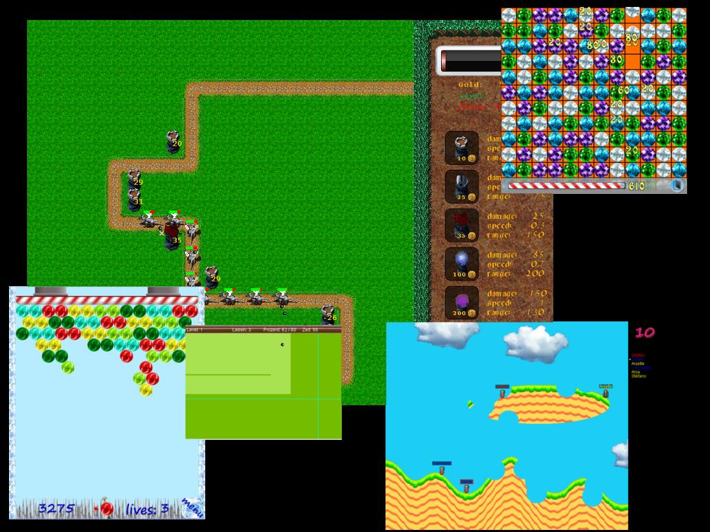 Screenshots der Spiele aus der Java-AG