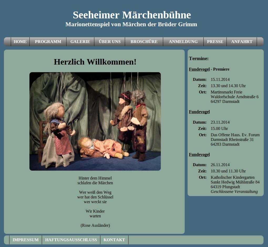 Screenshot der neuen Internetseite